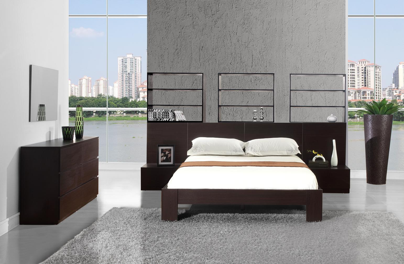 Vig furniture gamma modern platform queen bedroom collection with air - Modrest Lyon Wenge Platform Queen Bed W Nightstands