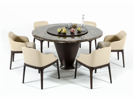 Modrest Margot Modern Brown Marble Round Dining Table