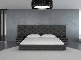 modrest melody black modern leather platform bed