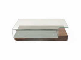 Modrest Mist Modern Elm and Glass Coffee Table