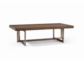 Modrest Pike Modern Elm & Antique Brass Coffee Table