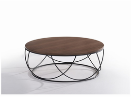Modrest Strang Modern Walnut & Black Round Coffee Table