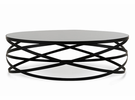 Modrest Wixon Modern Black Round Coffee Table