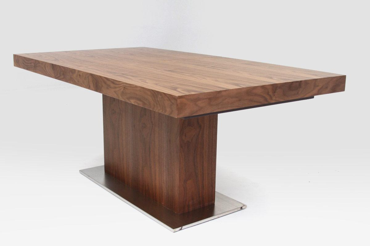 Modrest zenith modern walnut extendable dining table for Modern contemporary dining table
