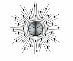 modway furniture silver starburst wall clock retro modern