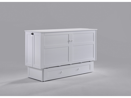 MURPHY CREDENZA CABINET QUEEN BED IN WHITE