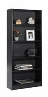 Nexera Essentials Black 72'' Tall Bookcase with 1'' Thick Shelves