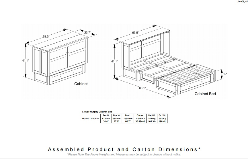 Cabinet bed dimensions