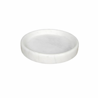 "Noir Furniture 12"" Round Tray, White Stone"