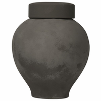 Noir Furniture 120 Ceramic Vase with Lid, Beton Finish