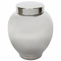 Noir Furniture 120 Ceramic Vase with Lid, Silver Finish