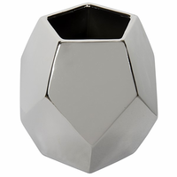 Noir Furniture 122 Ceramic Vase, Silver Finish