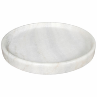 "Noir Furniture 20"" Round Tray, White Stone"