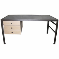 Noir Furniture 3 Drawer Desk with Stone Top