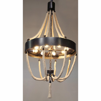 Noir Furniture Alec Chandelier, Metal and Rope