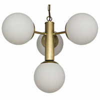 Noir Furniture Allen Chandelier, Antique Brass Finish