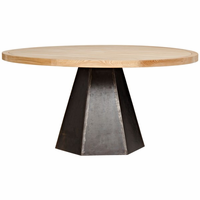 Noir Furniture Arezo Dining Table, Metal and Elm
