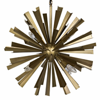 Noir Furniture Bero Chandelier, Antique Brass