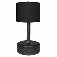 Noir Furniture Black Marble Cylinder Lamp w/ Black