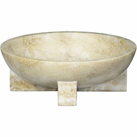 Noir Furniture Bowl with Cross Base, White Marble
