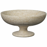 Noir Furniture Bowl with Pedestal, White Marble