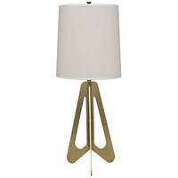 Noir Furniture Candis Lamp, White Shade, Antique Brass