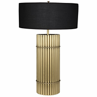 Noir Furniture Chloe Lamp, Black Shade, Antique Brass