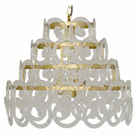 Noir Furniture Conley Chandelier, Antique Brass, Metal