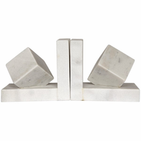 Noir Furniture Cube Bookends, White Stone