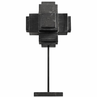 Noir Furniture Cube On Stand, Black Marble