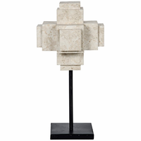 Noir Furniture Cube On Stand, White Marble