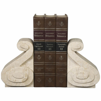 Noir Furniture Curved Bookends, White Marble