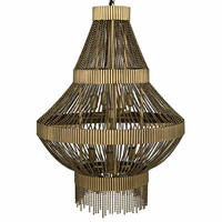 Noir Furniture Domo Chandelier, Metal w//Brass Finish