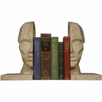 Noir Furniture Face Bookend, White Marble
