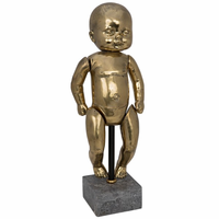 Noir Furniture Girl Baby Doll On Stand, Brass
