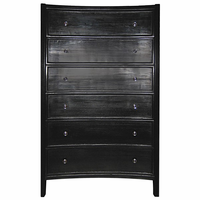 Noir Furniture Hampton Tall Boy, Hand Rubbed Black