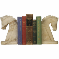 Noir Furniture Horse Bookend, White Marble