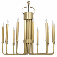 Noir Furniture Kooper Chandelier, Antique Brass Finish