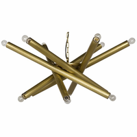Noir Furniture Lex Chandelier, Antique Brass