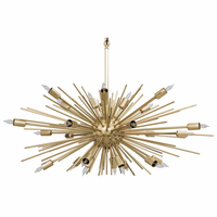 Noir Furniture Loleil Chandelier, Antique Brass Finish