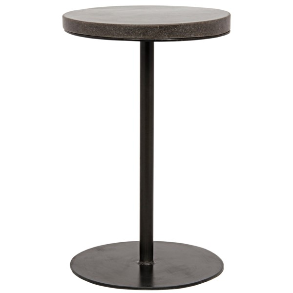 Table Bar Noir noir furniture lotus side table, metal and stone