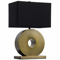 Noir Furniture Mill Stone Lamp w/Shade, Metal w/Brass