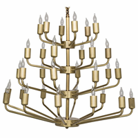 Noir Furniture Montoro Chandelier, Antique Brass Finish