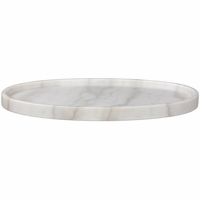 Noir Furniture Oval Tray, White Stone