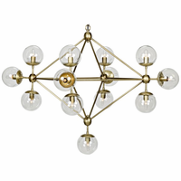 Noir Furniture Pluto Chandelier, Small, Antique Brass,
