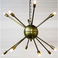 Noir Furniture Prato Chandelier, Metal w/Brass Finish