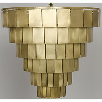 Noir Furniture Shield Chandelier, Antique Brass