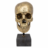 Noir Furniture Skull on Stand, Brass