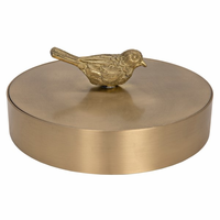 Noir Furniture Solid Brass Jewelry Box w/ Bird Knob