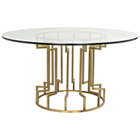 Noir Furniture Spool Dining Table, Gold